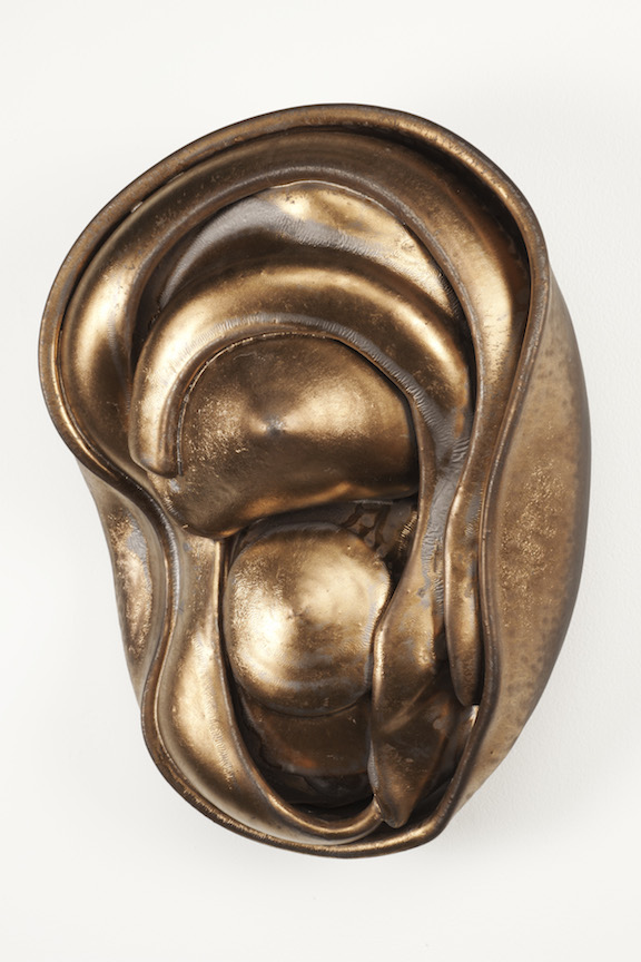 Hunter Stamps ceramic clay sculpture statue abstract art wall piece metallic bronze natural neutral sophisticated contemporary Sherrie Gallerie Short North Art Gallery Columbus Ohio