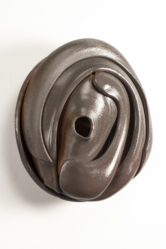 Hunter Stamps ceramic clay sculpture statue abstract art wall piece oval hollow natural neutral sophisticated contemporary Sherrie Gallerie Short North Art Gallery Columbus Ohio