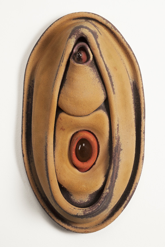 Hunter Stamps ceramic clay sculpture statue abstract art wall piece oval cast glass natural neutral sophisticated contemporary Sherrie Gallerie Short North Art Gallery Columbus Ohio