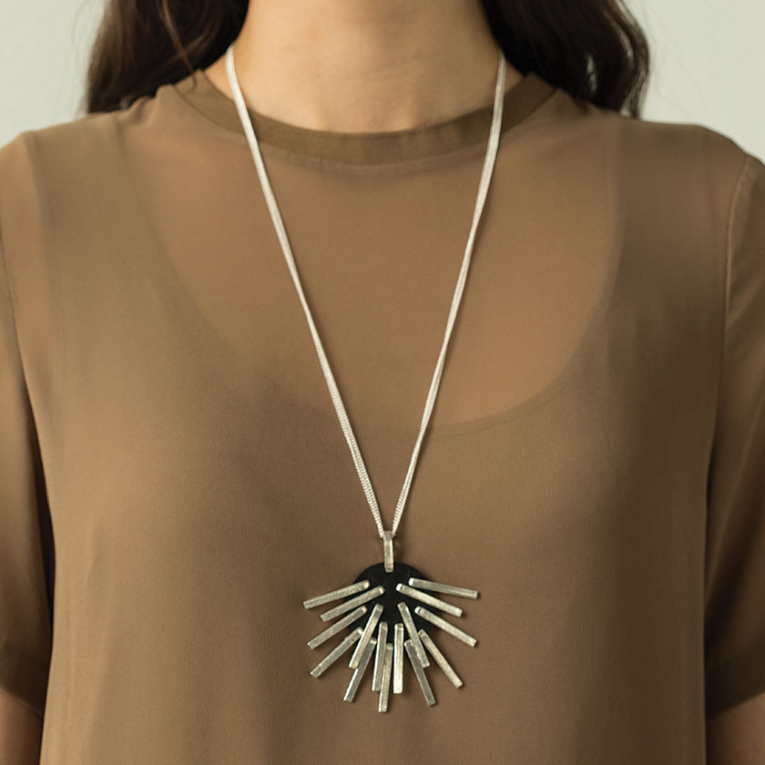 Anne Marie Chagnon art jewelry necklace sculptural edgy spikes silver pewter chain long contemporary classic Sherrie Gallerie Short North Art Gallery Columbus Ohio