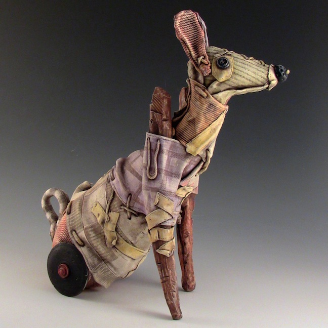 Keith Schneider ceramic dog toy mixed media assemblage fabric porcelain Sherrie Gallerie Short North Art Gallery Columbus Ohio