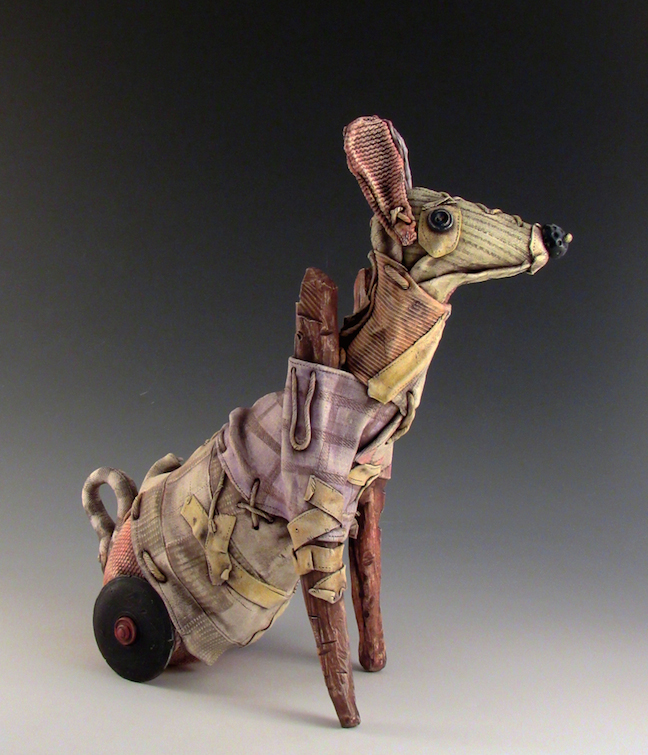 Keith Schneider ceramic porcelain clay figurative contemporary mixed media fabric toy dog Sherrie Gallerie Short North Art Gallery Columbus Ohio