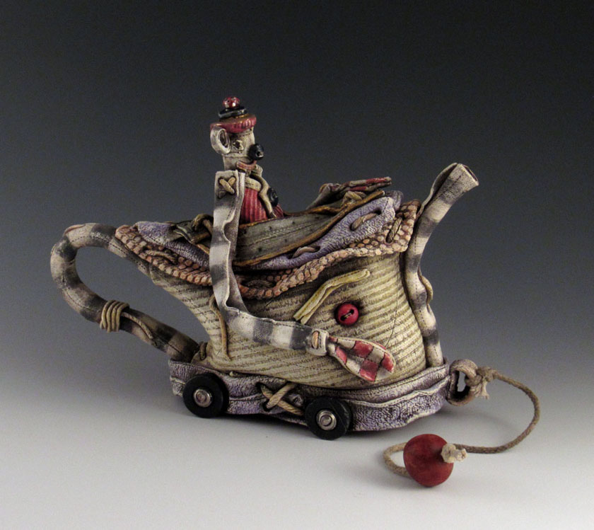 Keith Schneider ceramic porcelain clay figurative contemporary mixed media fabric pull toy teapot Sherrie Gallerie Short North Art Gallery Columbus Ohio