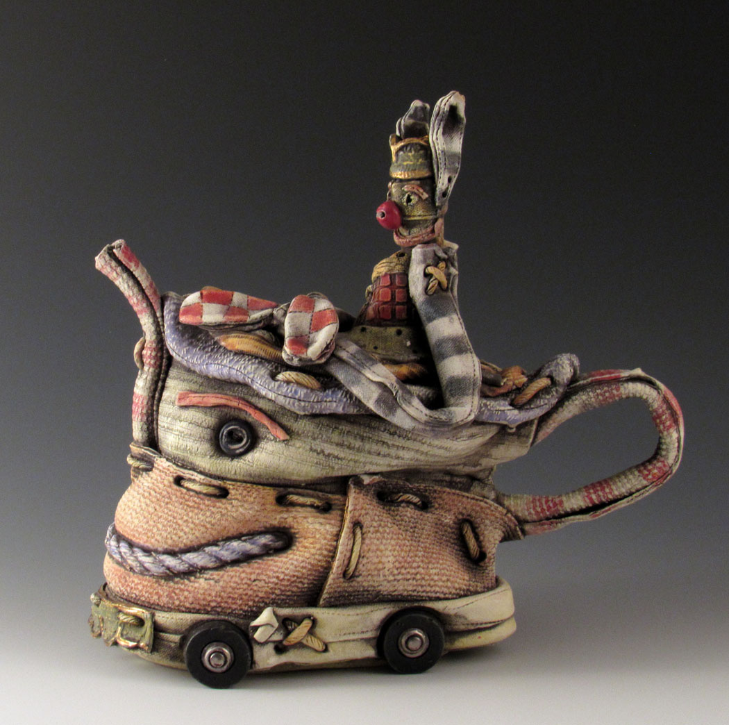Keith Schneider ceramic porcelain clay figurative contemporary mixed media fabric toy teapot Sherrie Gallerie Short North Art Gallery Columbus Ohio