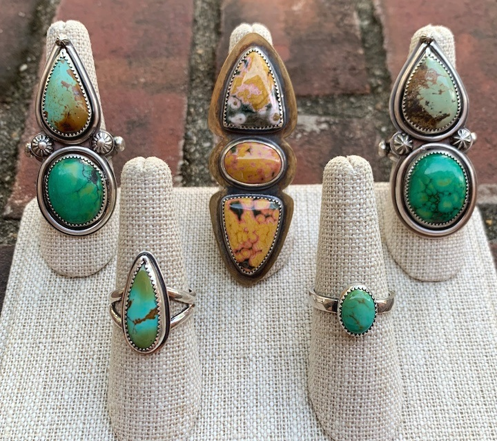 Madeleine Fields turquoise silver ring statement jewelry art southwest native american silversmithing gemstone Sherrie Gallerie Short North Art Gallery Columbus Ohio