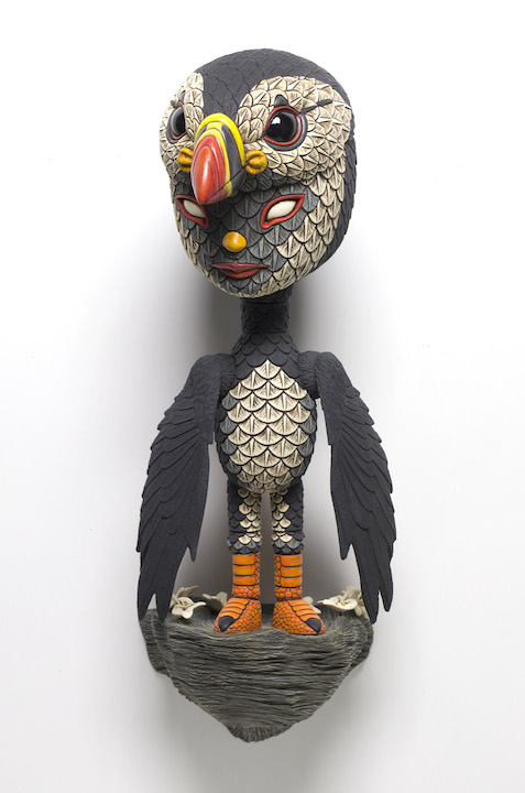 Calvin Ma clay porcelain ceramic figure bird mask puffin penguin cartoon anime texture natural Sherrie Gallerie Short North Art Gallery Columbus Ohio