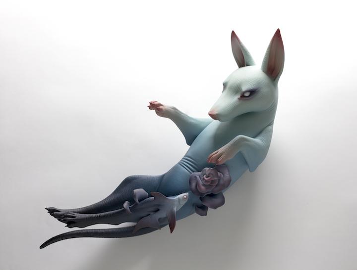 Erika Sanada ceramic porcelain clay figure animal bizarre beautiful hand textured blue purple fish flower dog pup Sherrie Gallerie Short North Art Gallery Columbus Ohio