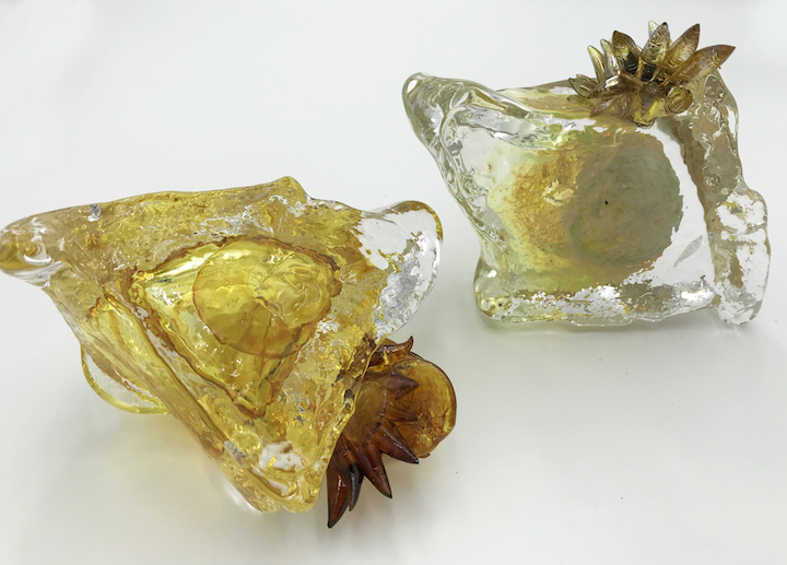 Molly Burke blown glass succulent cactus ice form gold wall installation paperweight vase Sherrie Gallerie Short North Art Gallery Columbus Ohio