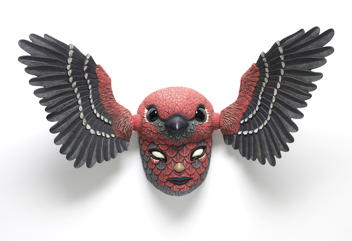 Calvin Ma clay porcelain ceramic figure bird mask native american cardinal cartoon anime texture natural Sherrie Gallerie Short North Art Gallery Columbus Ohio