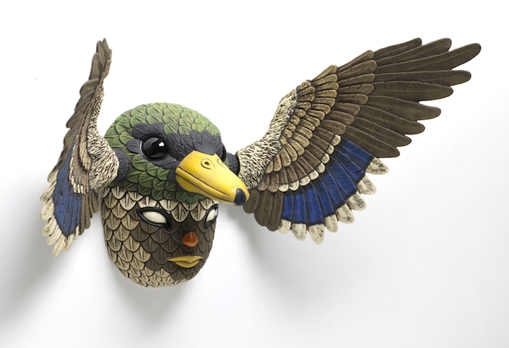 Calvin Ma clay porcelain ceramic figure bird mask native american mallard duck cartoon anime texture natural Sherrie Gallerie Short North Art Gallery Columbus Ohio