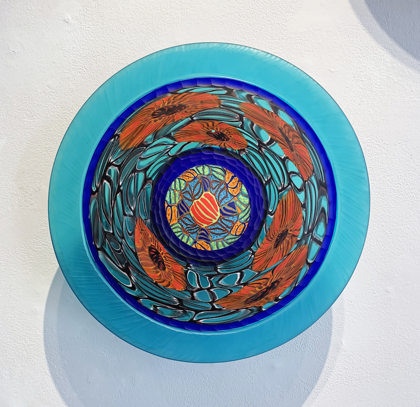 Davide Salvadore Blue Red Piatti Piatto plate wall piece installation flower floral Italian glass blown carved traditional painting murrine murrini maestro glassblowing cane murano best contemporary art Sherrie Gallerie short north art gallery columbus ohio