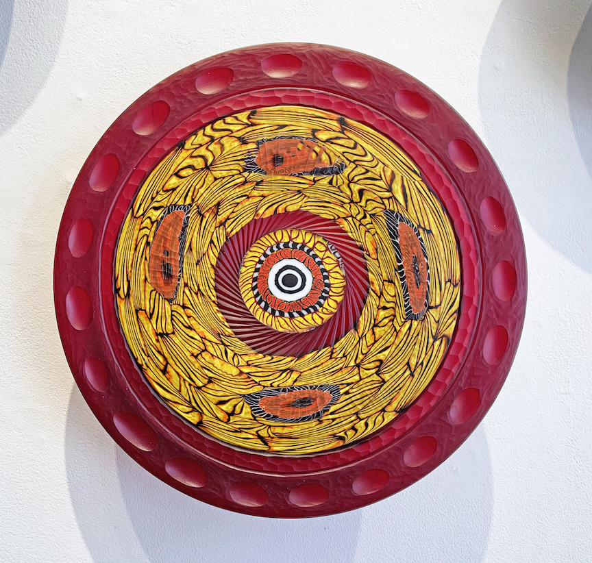 Davide Salvadore Yellow Red Piatti Piatto plate wall piece installation flower floral Italian glass blown carved traditional painting murrine murrini maestro glassblowing cane murano best contemporary art Sherrie Gallerie short north art gallery columbus ohio
