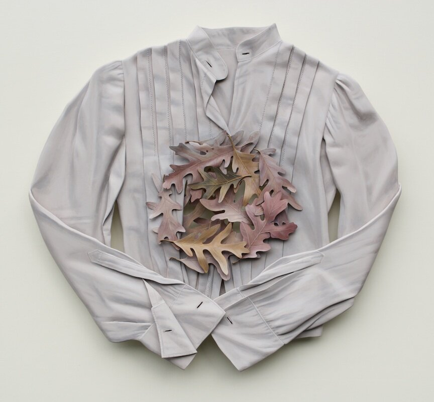 Ron Isaacs trompe l'oeil painting sculpture wood oak shirt vintage clothing leaves branches flowers antique Sherrie Gallerie Short North Art Gallery Columbus Ohio