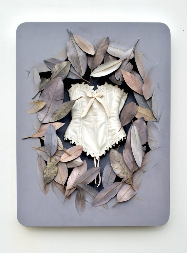 Ron Isaacs trompe l'oeil painting sculpture wood corset purple vintage clothing leaves branches flowers antique Sherrie Gallerie Short North Art Gallery Columbus Ohio