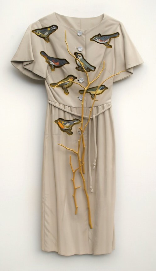 Ron Isaacs trompe l'oeil painting sculpture wood warblers birds found objects vintage clothing leaves branches flowers antique Sherrie Gallerie Short North Art Gallery Columbus Ohio
