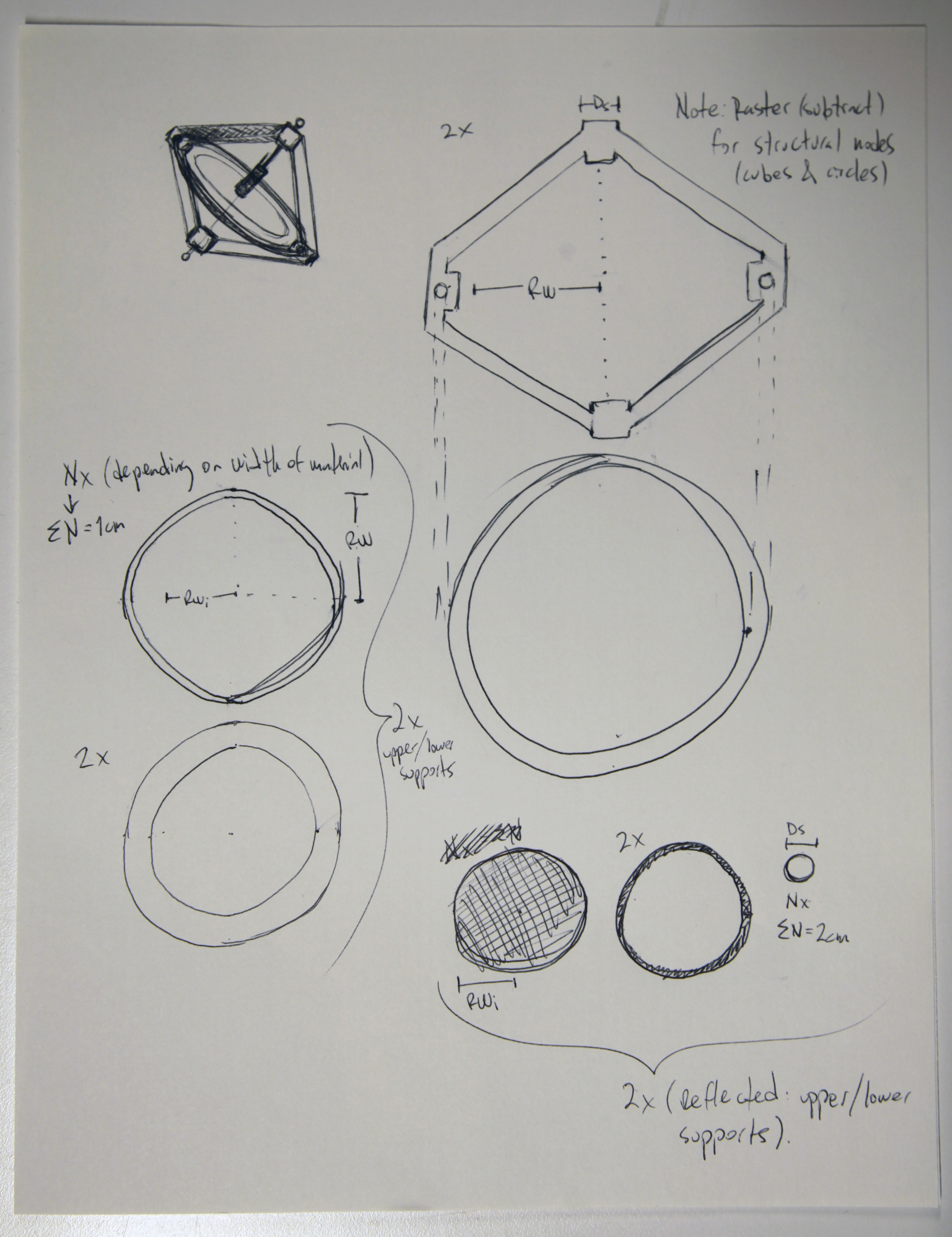 The overall shapes could be any type of wood, the smallest circles though –Ds diameter– should be a hard wood to ensure a smoother spin for the center load.