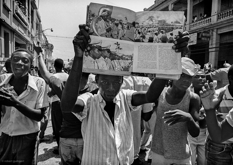 Port-au-Prince, Haiti 1987: Anti government demonstrators