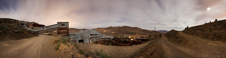 Night panorama: Western Nevada silver mine