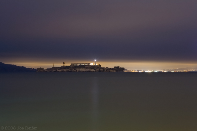 Alcatraz at night from Fort Mason -- by Joe Reifer