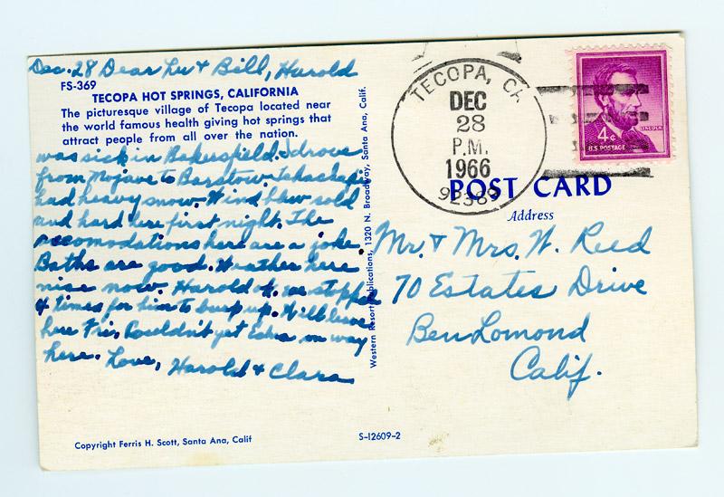 Toast to Tecopa Postcard -- back