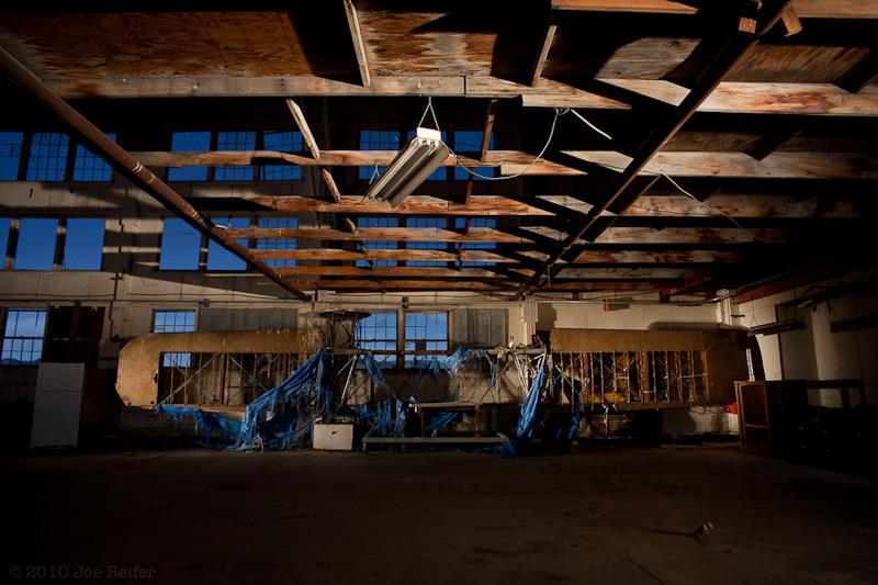 Wooden structures for flight, Tonopah airport -- by Joe Reifer