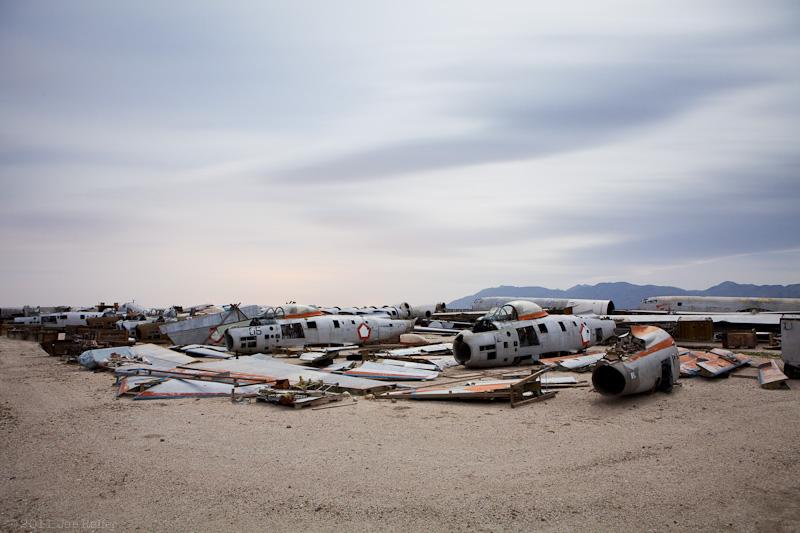 Clouds over desert airplane boneyard -- by Joe Reifer