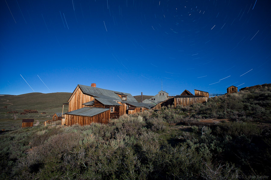Bodie at night: Standard Stamp Mill -- by Joe Reifer