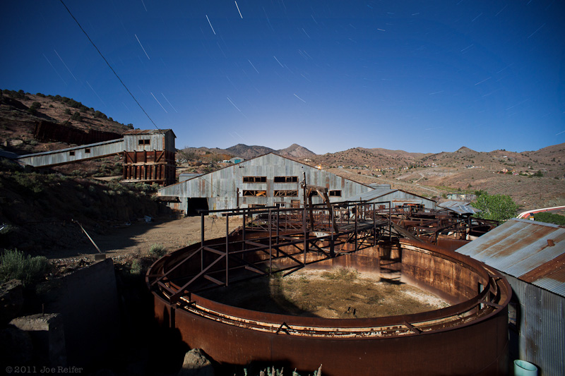Cyanide tanks and ore processing building, Nevada silver mining ruins - by Joe Reifer