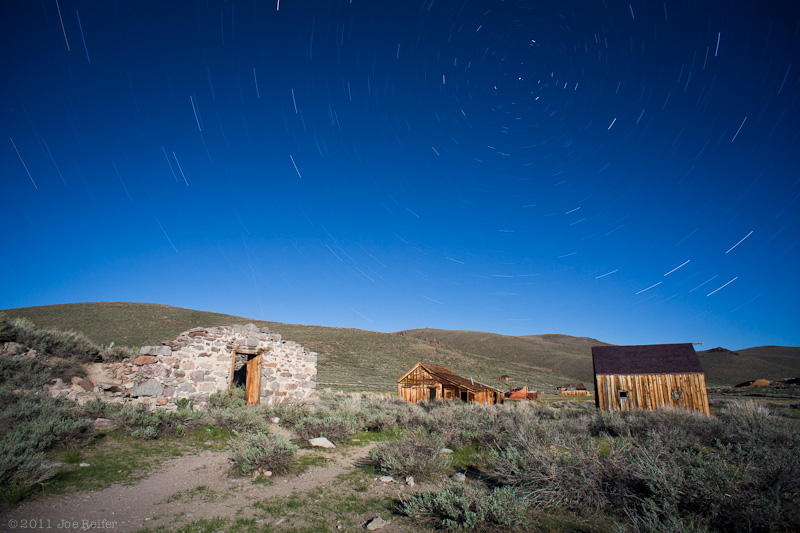 Bodie at night: Jail ruins, stables, and buildings on the east side of town -- by Joe Reifer