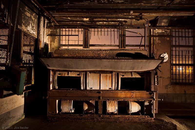 Alcatraz at night: Industrial dryer for prison laundry -- by Joe Reifer