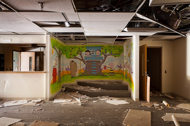 Peanuts mural in the children's ward of an abandoned hospital -- by Joe Reifer