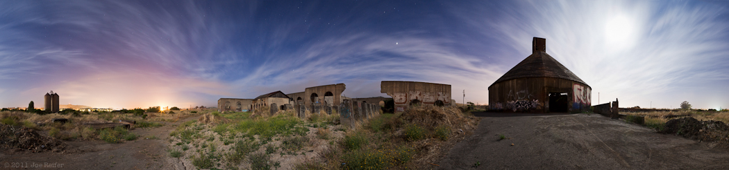 Abandoned cement plant 360 degree night panorama -- by Joe Reifer