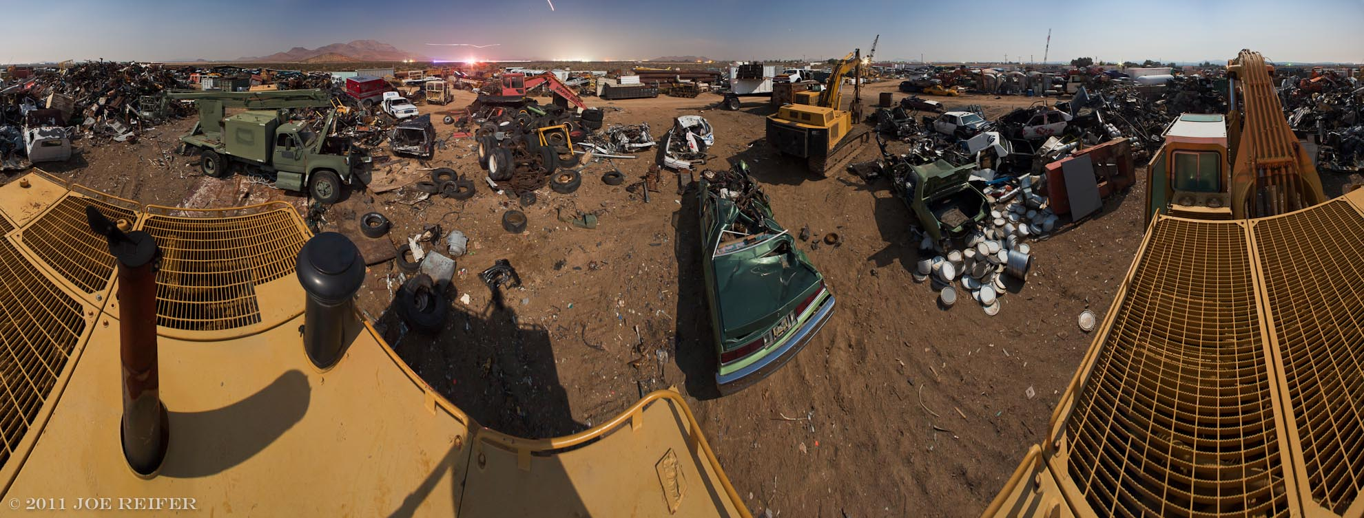 Junkyard accident night panorama -- by Joe Reifer