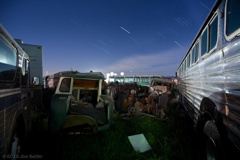 Outside the bus yard workshop -- by Joe Reifer