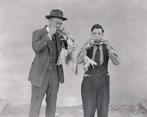 Ty Cobb and Buster Keaton Eating Corn on the Cob in 1922