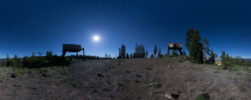 Abandoned Lake Tahoe Ski Resort 360 Night Panorama