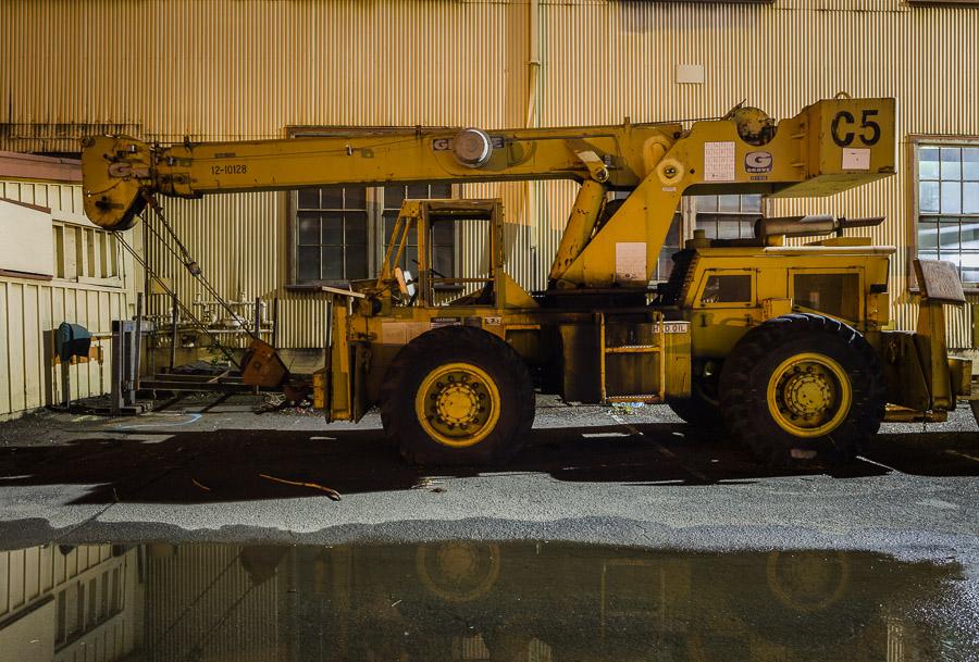 Mare Island crane truck C5 at night
