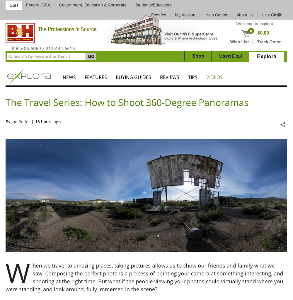 B&H Travel Series: How to Shoot 360-Degree Panoramas