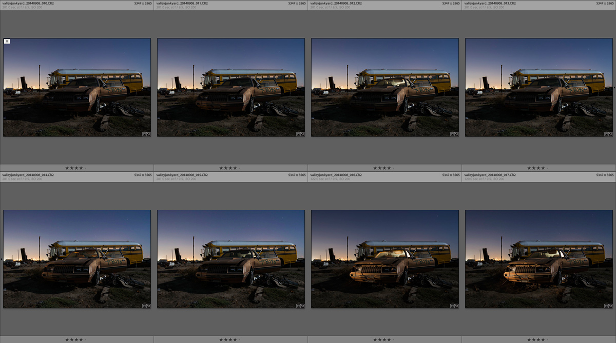 The 6 image star trail stack in Lightroom, plus 2 additional images for light painting.