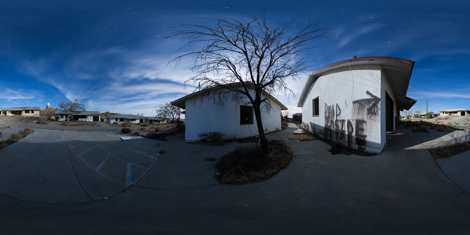 Boron Air Force Station &Federal prison - a 25 panorama night tour of this extensive ghost town in the Mojave Desert.