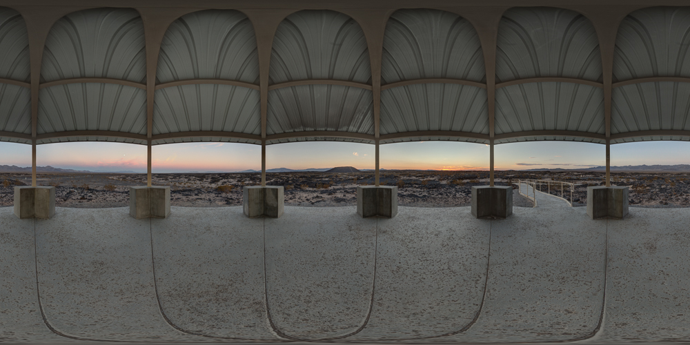 A 360 panorama of the sunset and moonrise at Amboy Crater