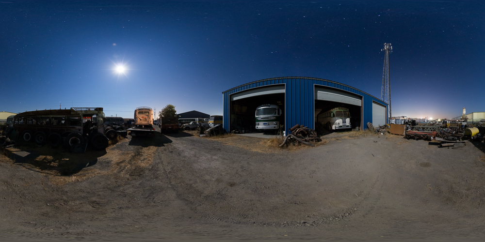 Motorcoach Repair - A 360 night tour of a California facility that restores vintage buses.