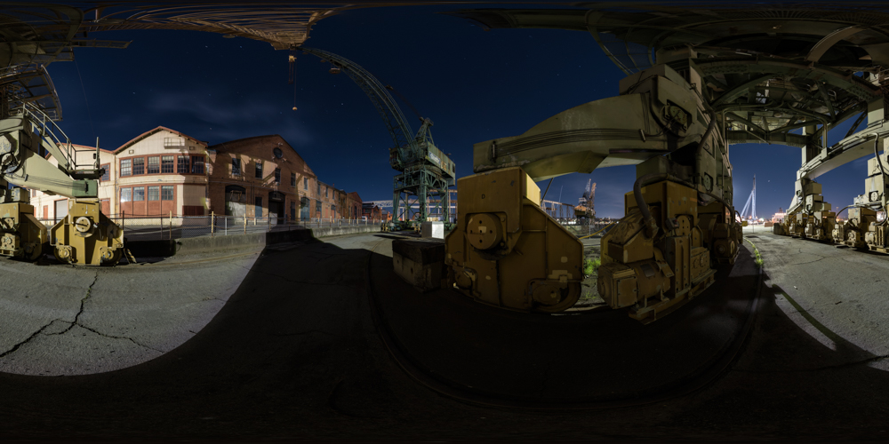 A 360 night panorama of cranes in front of the dry dock at Mare Island Naval Shipyard