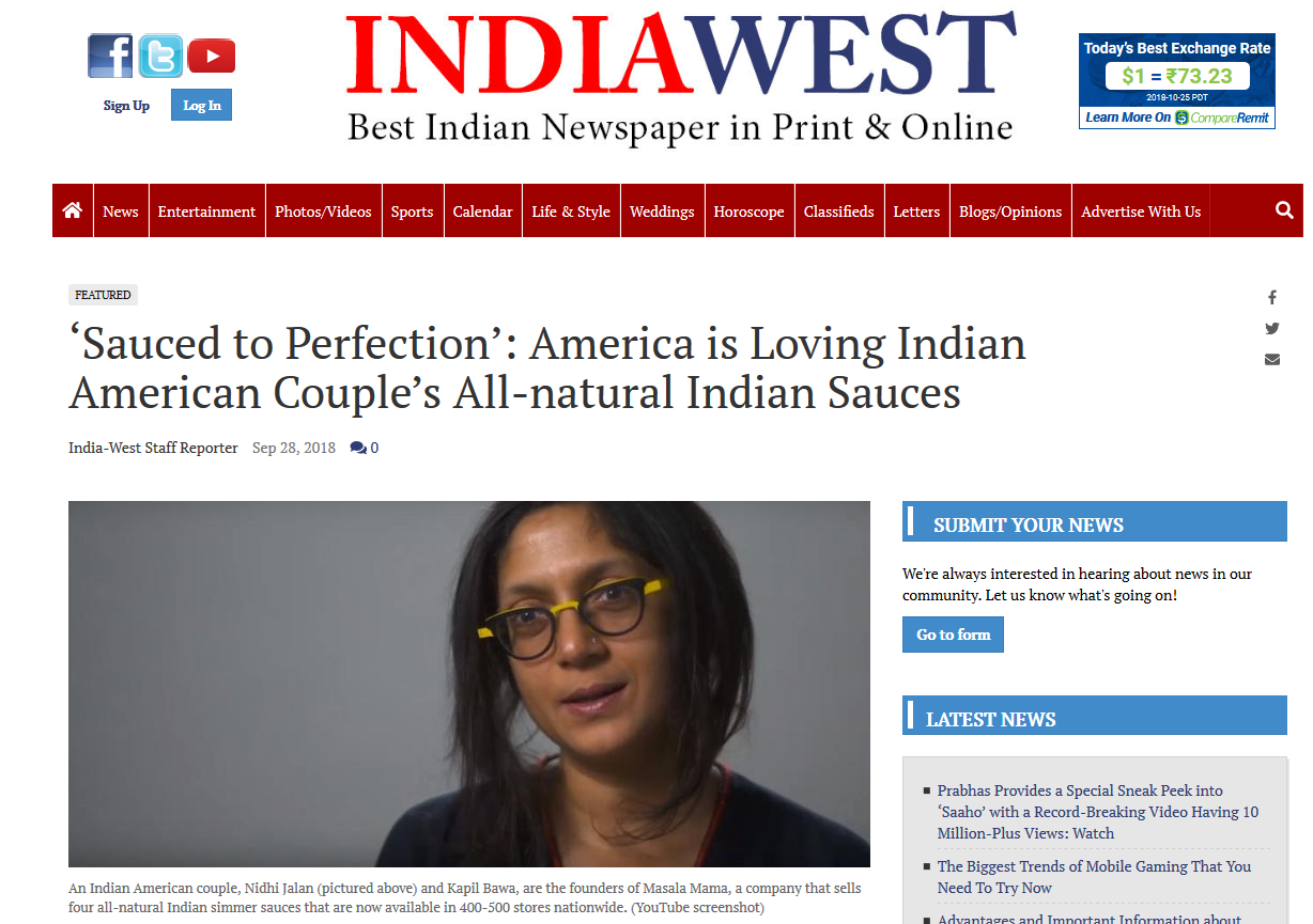 Masala Mama featured in    India West article