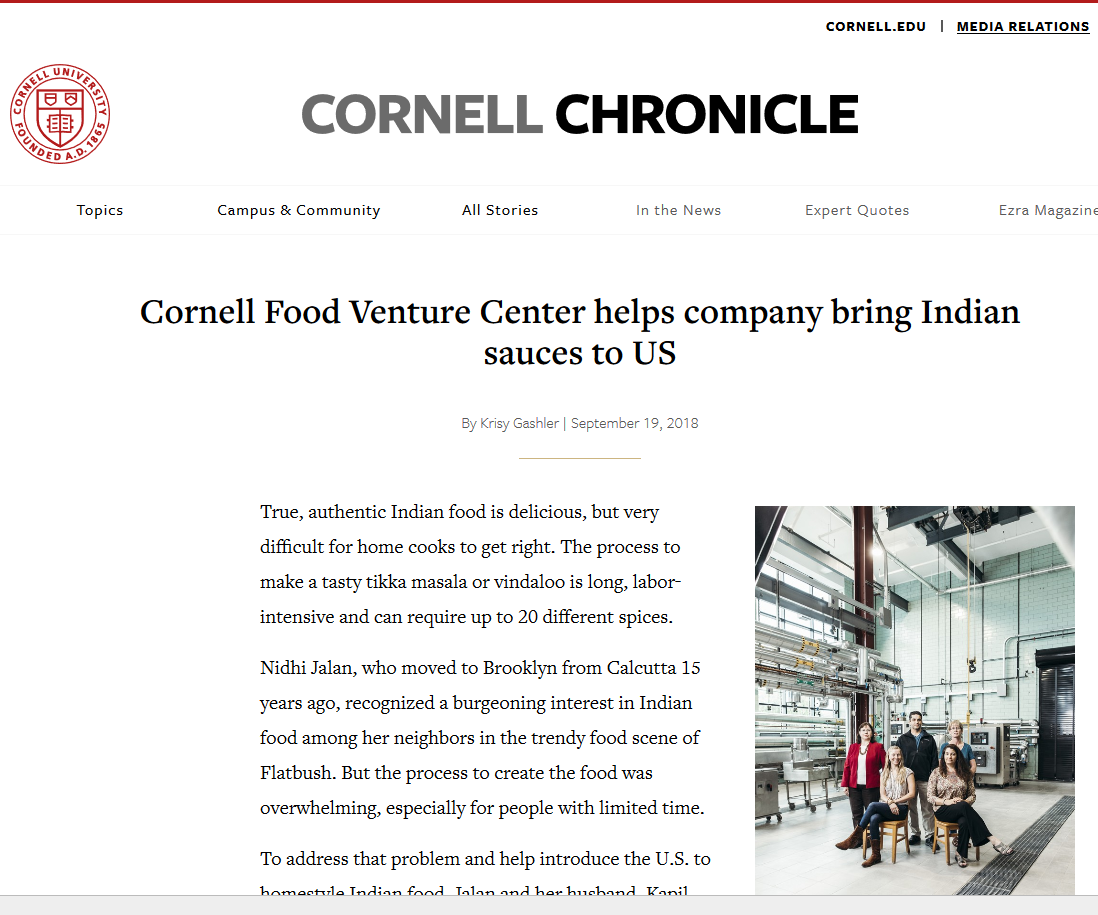 Masala Mama featured in    story about Cornell Food Venture Center