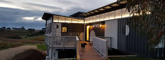 © Inkwell Winery |   Sustainability at Inkwell extends to the onsite accommodation, which is made from recycled shipping containers.     Recycling, lowering carbon footprints and helping the homeless are just some of the green initiatives used in the wine industry.