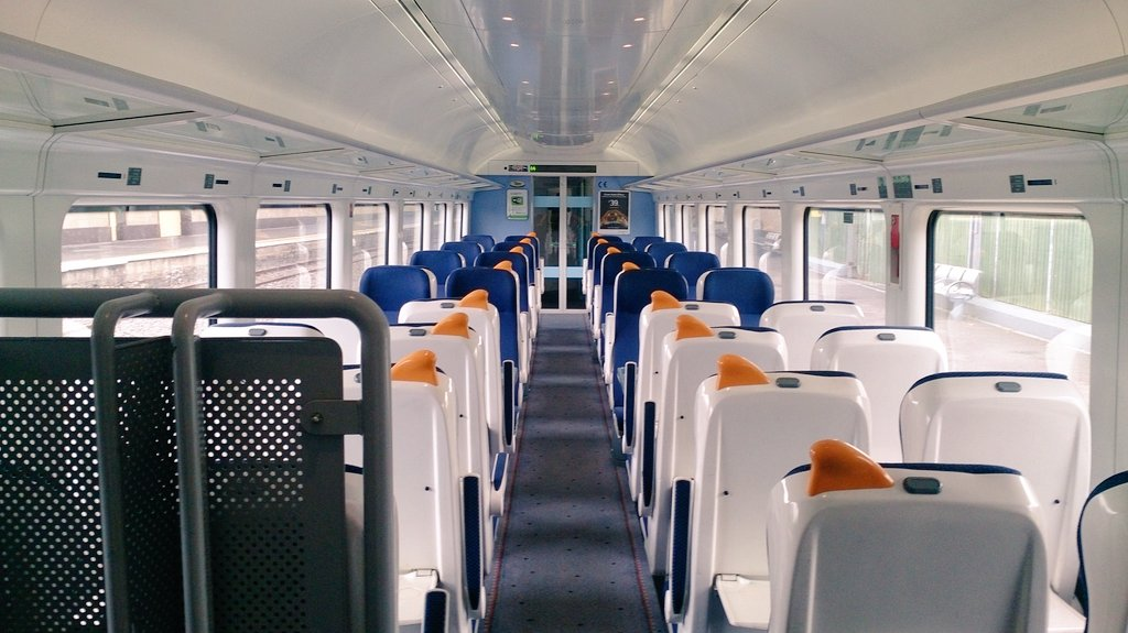 Train all to myself to begin with until we got closer to Dublin. It was very comfortable and I purchased coffee and food from a snack cart on board.