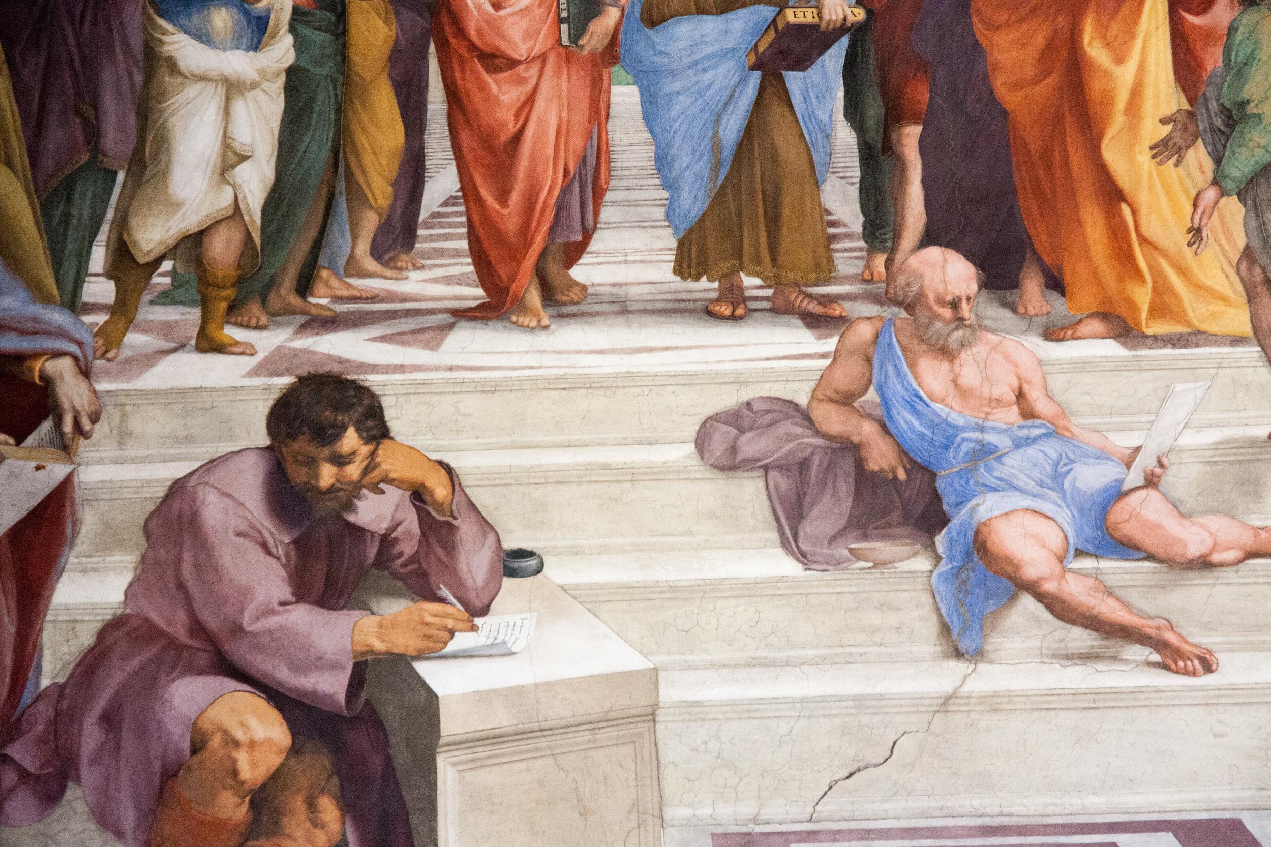 Michelangelo's portrait in  The School of Athens  (Raphael)