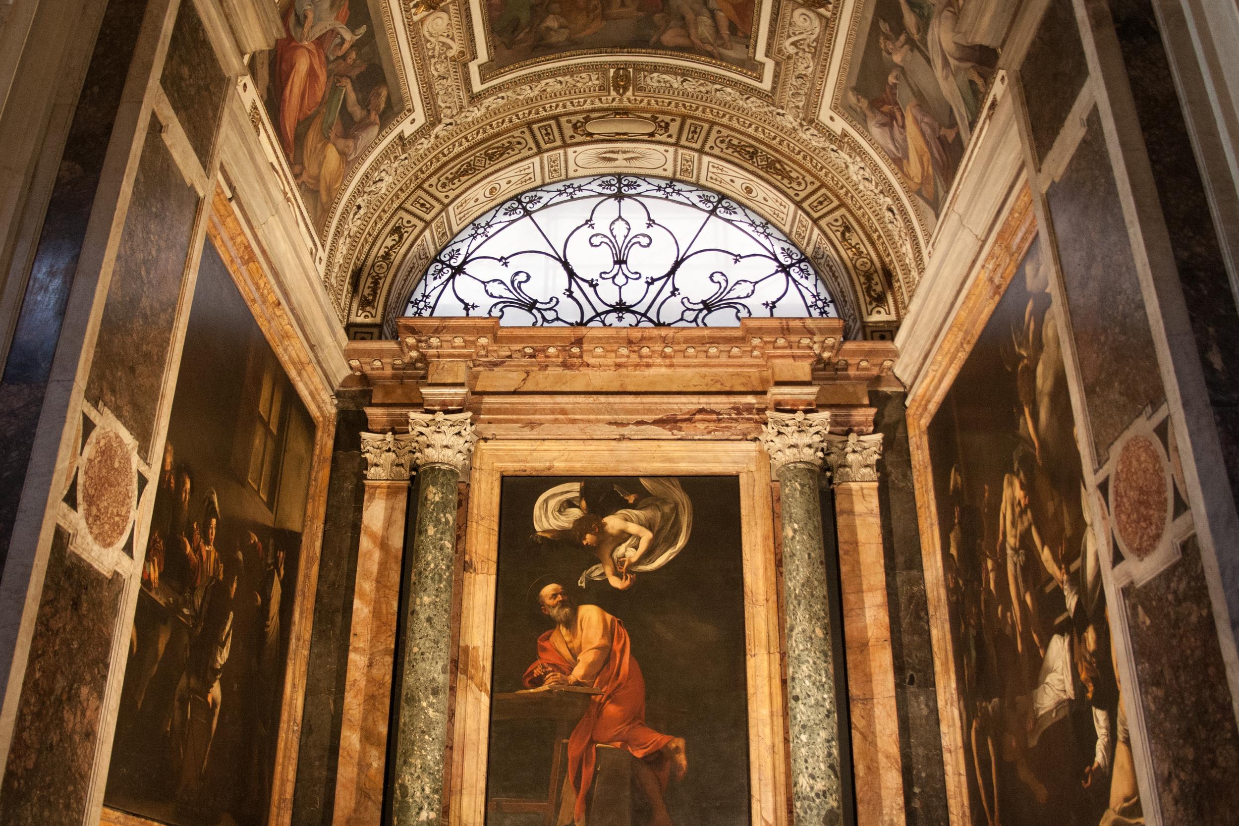 Carravaggio's  The Calling of Saint Matthew  (left),  The Inspiration of Saint Matthew  (center), and  The Martyrdom of Saint Matthew  (right)