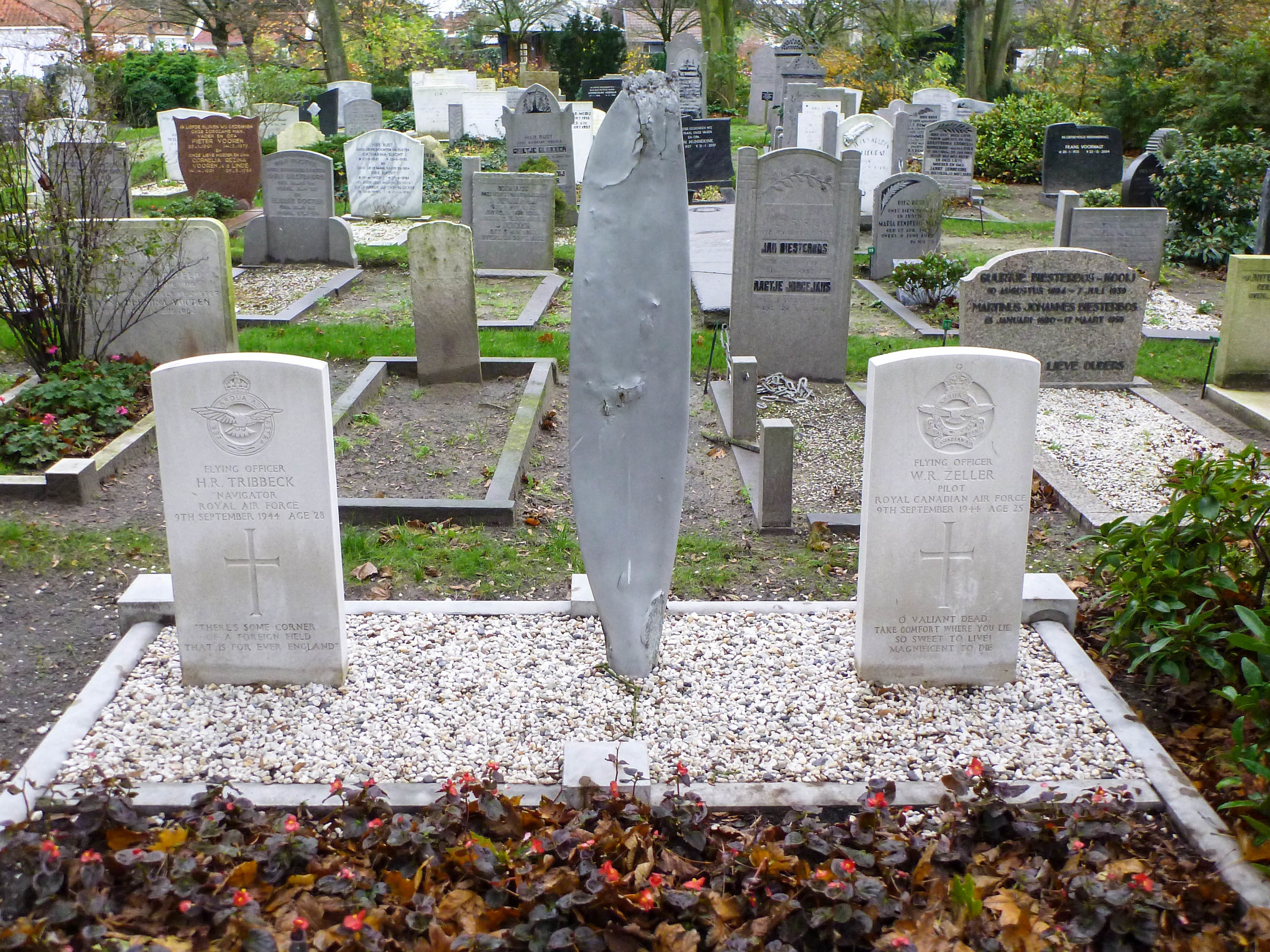 One of their aircraft's propeller blades between their resting places